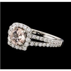 0.80 ctw Morganite and Diamond Ring - 18KT White Gold