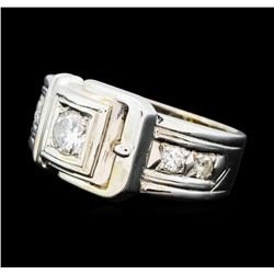 0.60 ctw Pave Set Buckle Design Ring - 14KT White Gold