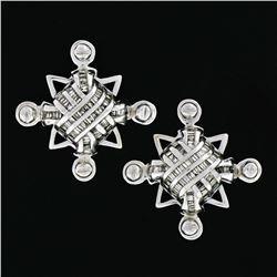 Unisex Large 14K White Gold 1.15 ctw Channel Baguette Diamond Domed Stud Earring