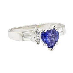 1.87 ctw Sapphire and Diamond Ring - 14KT White Gold