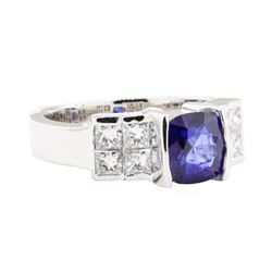 2.08 ctw Sapphire And Diamond Ring - 18KT White Gold