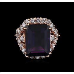 14KT Rose Gold 13.61 ctw Amethyst and Diamond Ring