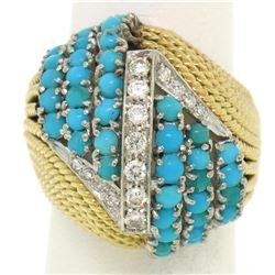 Hand Made 18k TT Gold 2.60 ctw Turquoise & Diamond Dome Cocktail Ring
