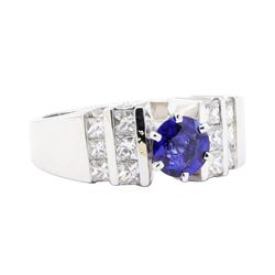 1.12 ctw Sapphire And Diamond Ring - 14KT White Gold