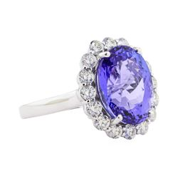 9.25 ctw Tanzanite and Diamond Ring - Platinum