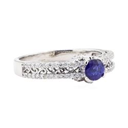 1.10 ctw Sapphire And Diamond Ring - 14KT White Gold