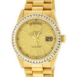 Rolex Mens 18K Yellow Gold 2.75 ctw Channel Set Diamond Day Date President Wrist