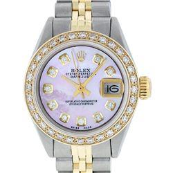 Rolex Ladies 2 Tone 14K Pink MOP Diamond Datejust Wristwatch