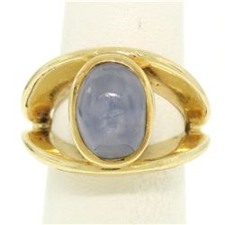 14K Yellow Gold Split Shank Bezel Cabochon Blue Star Sapphire Mens Ring