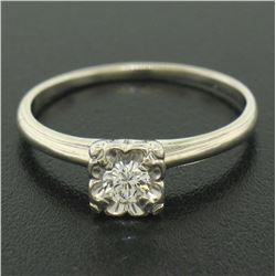 14k White Gold 0.20 ctw F VVS2 Illusion Set Round Diamond Solitaire Ring