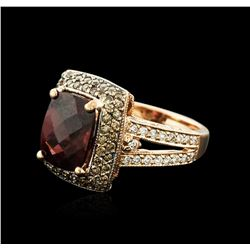 14KT Rose Gold 3.30 ctw Rubellite and Diamond Ring