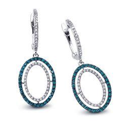 14k White Gold  0.56CTW Diamond and Blue Diamonds Earrings