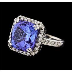 8.27 ctw Tanzanite and Diamond Ring - 14KT White Gold