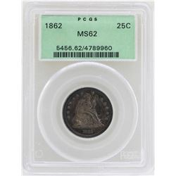 1862 Seated Liberty Quarter Coin PCGS MS62
