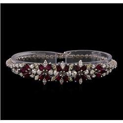 3.96 ctw Ruby and Diamond Bracelet - 18KT White Gold