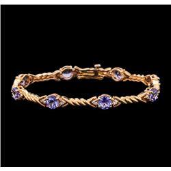 5.50 ctw Tanzanite and Diamond Bracelet - 14KT Rose Gold