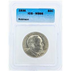 1936 Arkansas Centennial Robinson Commemorative Half Dollar Coin ICG MS66