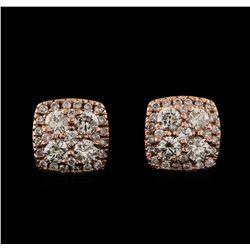 0.97 ctw Diamond Earrings - 14KT Rose Gold