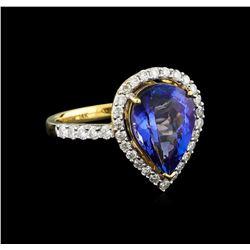 14KT Yellow Gold 2.80 ctw Tanzanite and Diamond Ring