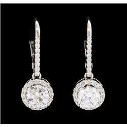 1.80 ctw Diamond Earrings - 14KT White Gold