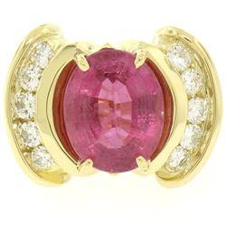 18K Yellow Gold 6.54 ctw Oval Pink Tourmaline & Round Diamond Cocktail Ring