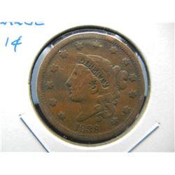 1838 Large 1c.  VF.