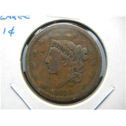 1839 Large 1c.  Fine.