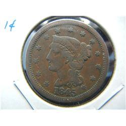 1845 Large 1c.  Fine.