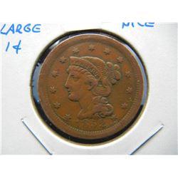 1852 Large 1c.  VF.  Nice.
