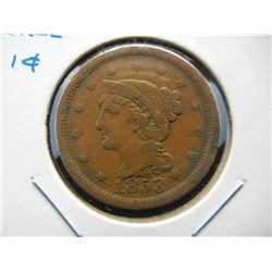 1853 Large 1c.  VF.