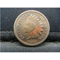 1863 Indian 1c.  VF.