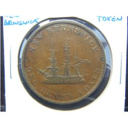 1843 New Brunswick 1 Penny Token.