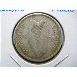 1928 Ireland Silver Florin.  Scarce.