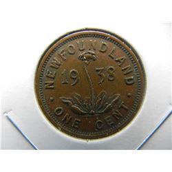 1938 Newfoundland 1c.  Nice XF.