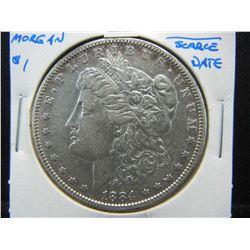1884-S Morgan $1.  AU.  Scarce Date.