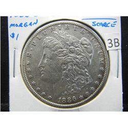 1886-S Morgan $1.  XF+.  Scarce.