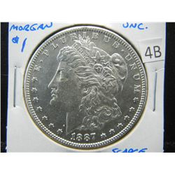 1887-S Morgan $1.  Nice UNC.  Scarce Date.