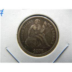 1876 Seated 10c.  VF.