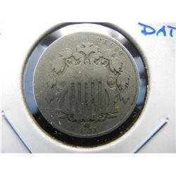 1873 Shield 5c.  Fine.  Scarce Date.