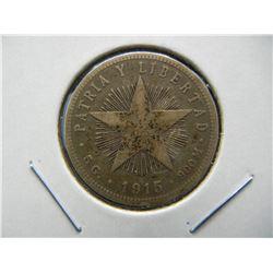 1915 Cuba Silver 20 Centavos.