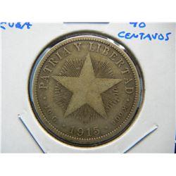 1915 Cuba Silver 40 Centavos.  Scarce.