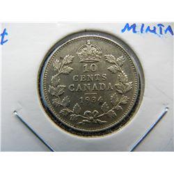 1934 Canada 10c.  AU+.  Low Mintage.  Scarce.