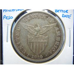 1910-S Philippines Peso.  AU.  Better Date.