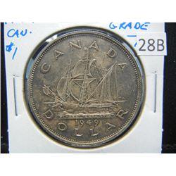 1949 Canada $1.  High Grade.  AU+.