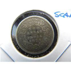 1874 India Silver 2 Annas.  Scarce.