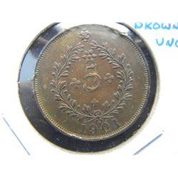 1901 Azores 5 Reis.  Brown UNC.  Scarce.