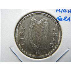 1940 Ireland Silver Shilling.  High Grade.