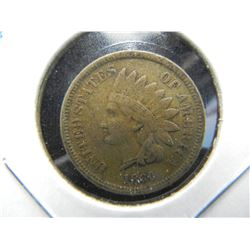 1860  Indian 1c.  VF Details.  Better Date.