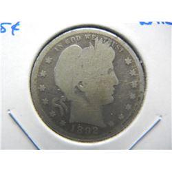 1892-S Barber 25c.  Semi-Key Date.  Good+.