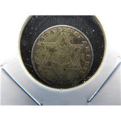 1857 3c Silver.  VF+.  Scarce Date.